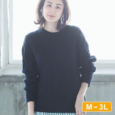 Ranan 【M~3L】チクチクしない衿裏綿ニット ブルー M レディース