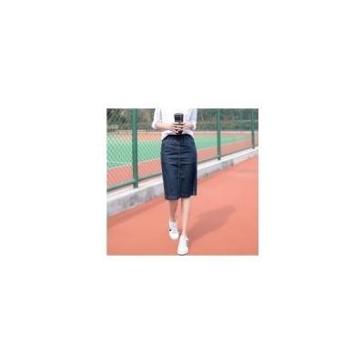 デニムスカートレディースウエストゴム膝丈シンプルカジュアルフェミニン可愛い無地台形AラインGoodClothes