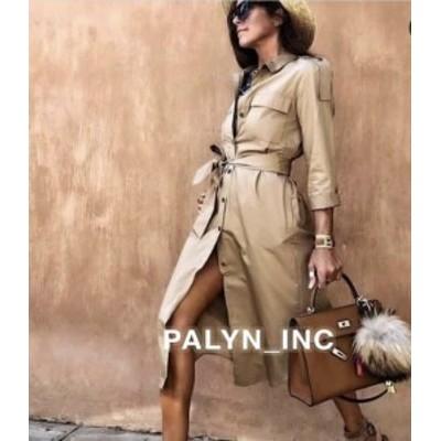 ファッション ドレス NWT ZARA AW18 MIDI SHIRT DRESS BELT DARK CAMEL 7722/202_S M