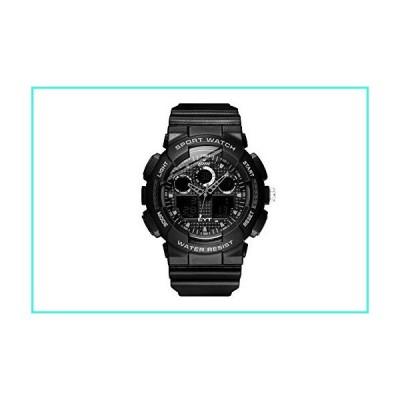【新品】EYT Mens Sports Wrist Watch with Black Rubber Band, Stainless Steel Case Back, Black Analog-Digital Display, Quartz LCD Digital Movement,