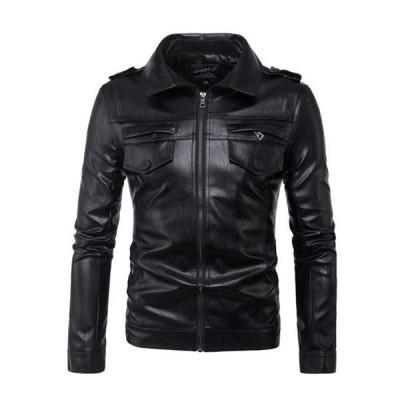 秋冬 ライダースジャケット レザージャケット メンズ 大きいサイズ シングル アウター カジュアル PUレザー メンズ ジャケット シングル メンズ用