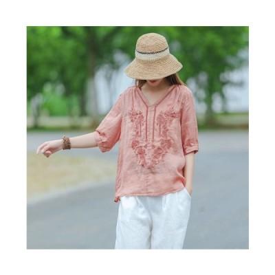 綿麻ブラウス Tシャツ リネン半袖 無地 刺繍 レディース Vネック 春夏トップス 大きいサイズ カットソー 体型カバー 30代40代50代 きれいめ 二枚送料無料