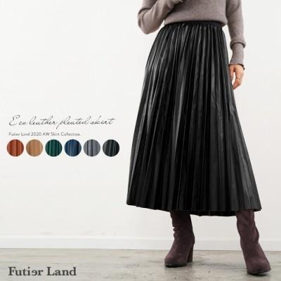 Futier Land エコレザープリーツスカート ブラウン フリー レディース