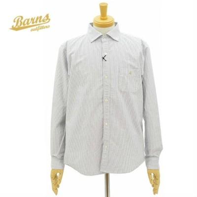 バーンズ BR-8244 ボタンダウンシャツ 長袖シャツ オックスフォード素材 ストライプ メンズ BARNS OUT FITTERS