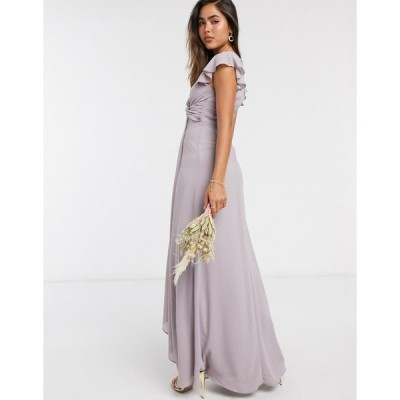 ティエフエヌシー レディース ワンピース トップス TFNC bridesmaid flutter sleeve ruffle detail maxi dress in gray Gray