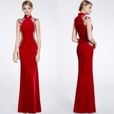 【CONIEFOX】【送料無料】高品質★ベロアチャイナカラー肌透けフラワー刺繍半袖付きマーメイドラインロングドレス♪レッド 赤 ロングドレス