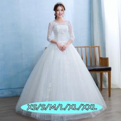 ウェディングドレス 結婚式ワンピ-ス ミドリフトップ 上品レディース マキシ丈 透け感レース 20代30代40代 aライン ホワイト色