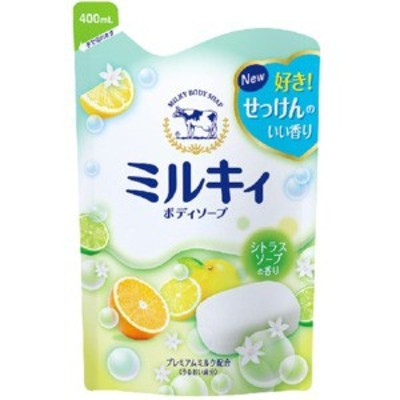 牛乳石鹸 ミルキィ ボディソープ もぎたてゆずの香り 詰替用 400ml (0712-0103)