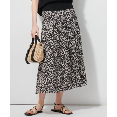 L size ONWARD(大きいサイズ)/エルサイズオンワード 【マガジン掲載】ビンテージフラワープリントスカート(番号K33) ネイビー系1 46