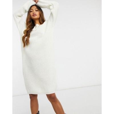 グラマラス レディース ワンピース トップス Glamorous scoop-back knitted midi sweater dress with lace trim Cream
