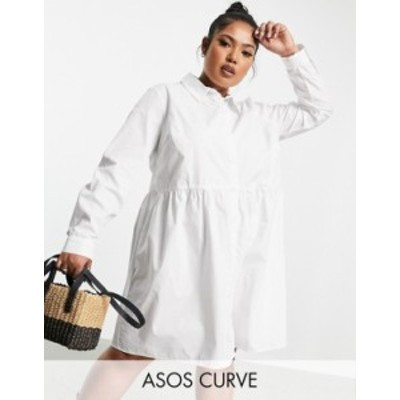 エイソス レディース ワンピース トップス ASOS DESIGN Curve cotton mini smock shirt dress in white White