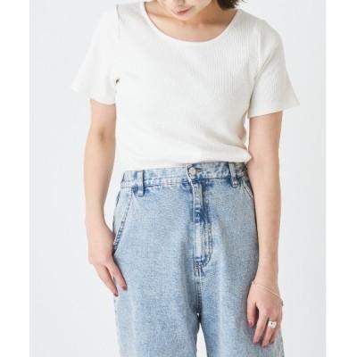 tシャツ Tシャツ ランダムテレコリブ2WAY半袖Tシャツ/クルーネック・Vネックリブトップス