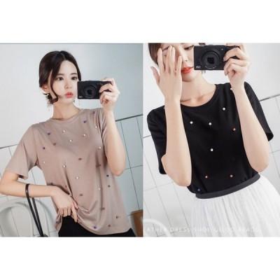 半袖Tシャツ ラウンドネック 丸首 半袖 純色 ビジュー付き シンプル 韓国風 全2色