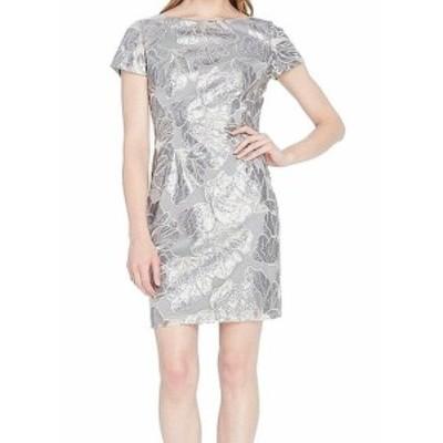Tahari タハリ ファッション ドレス Tahari by ASL NEW Silver Womens Size 4 Sequin Metallic Sheath Dress