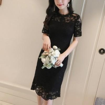 パーティードレス レース 黒 ブラック ラウンドネック ワンピース 半袖 膝上丈 バックリボン 大きいサイズ 結婚式 お呼ばれドレス 上品