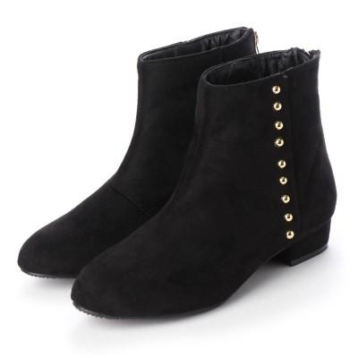 マシュガール masyugirl 【3E/幅広ゆったり・大きいサイズの靴】 ゴールドスタッズ付きアーモンドトゥブーツ (ブラックスエード) SOROTTO