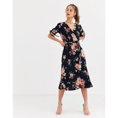 オアシス レディース ワンピース トップス Oasis wrap midi dress in multi floral