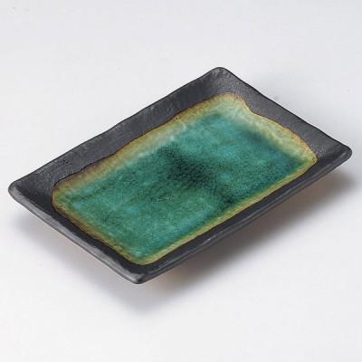 陶雅 緑彩角焼物皿