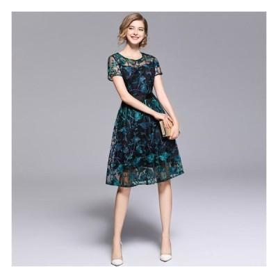 ワンピースドレス膝丈半袖上品総レースエレガントグリーンエメラルドフレア韓国パーティードレス20代30代40代