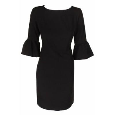 American  ファッション ドレス American Living Black Bell-Sleeve Crepe Sheath Dress 2
