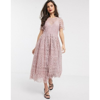 エイソス ミディドレス レディース ASOS DESIGN lace midi dress with ribbon tie and open back in soft rose エイソス ASOS
