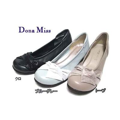 ドナミス  Dona Miss リボンデザインローヒールパンプス レディース・靴