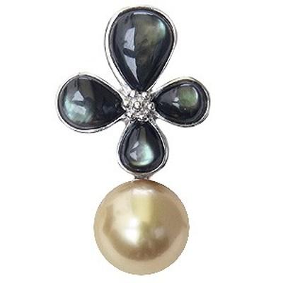 真珠ブローチ ピンブローチ ブローチ 南洋白蝶真珠 ゴールド系 直径10mm 黒蝶貝 フラワー 花モチーフ SV シルバー