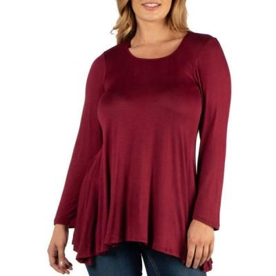 24セブンコンフォート レディース Tシャツ トップス Plus Size Long Sleeve Solid Color Swing Style Flared Tunic Top