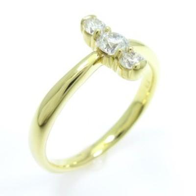 【中古品】K18YG スリーストーン ダイヤモンドリング