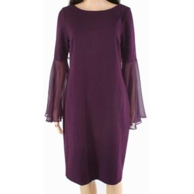 bell ベル ファッション ドレス Calvin Klein Womens Dress Purple Size 10 Sheath Chiffon Bell Sleeve