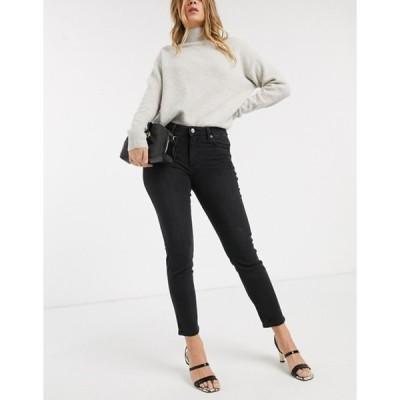 マンゴ レディース デニムパンツ ボトムス Mango cropped high rise skinny jean in gray