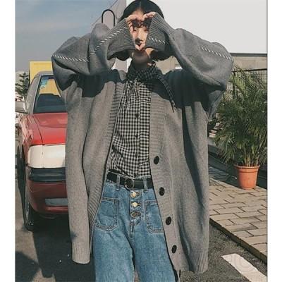 カーディガン レディース コート ロング 無地 長袖 秋 薄手 ニット カジュアル ゆったり アウター 羽織り