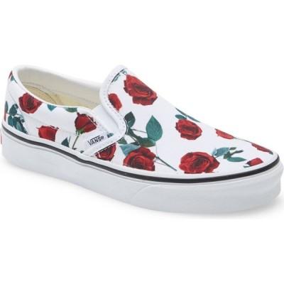 ヴァンズ VANS レディース スリッポン・フラット スニーカー シューズ・靴 Classic Slip-On Sneaker Red Roses True White