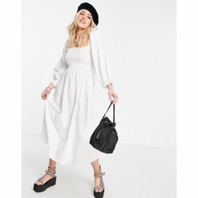 ストラディバリウス Stradivarius レディース ワンピース ミドル丈 ワンピース・ドレス shirred midi poplin dress in white ホワイト
