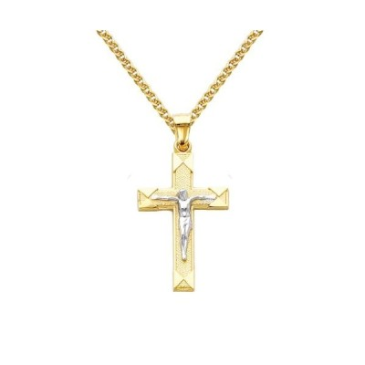 The World Jewelry Center 14k Two Tone Gold Jesus Cross Religious Penda