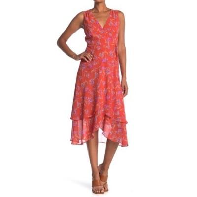 ラッシュ レディース ワンピース トップス Floral Print Wrap Midi Dress PRINT