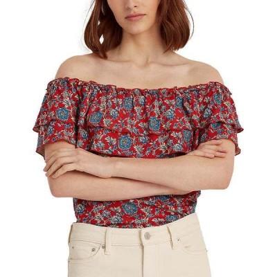 ラルフローレン カットソー トップス レディース Off-the-Shoulder Ruffle Floral Top Red Multi
