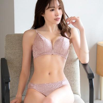 Lingerie by GeeRA ノンワイヤー大花ストレッチブラ&ショーツ  L レディース