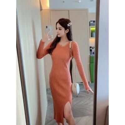 ニットワンピース 冬 韓国 ファッション レディース ニットワンピ タイト セクシー 大人 スカート 長袖 無地 オレンジ ベージュ グレー