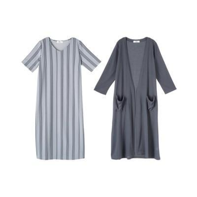 【大きいサイズ】 2点セット(ロング丈カーディガン+ワンピース)(オトナスマイル) ワンピース, plus size dress