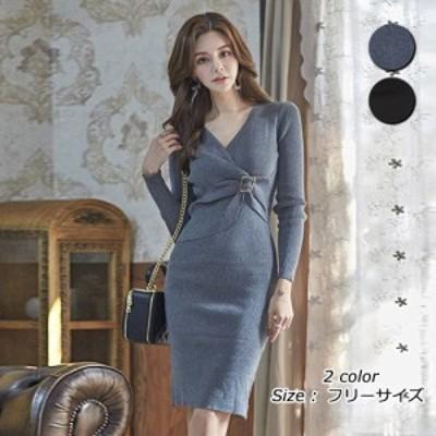 キャバ ドレス キャバドレス ワンピース ミディアムドレス カシュクール クール 高級感 柔らか 胸元 ニット グレー ブラック フリーサイ