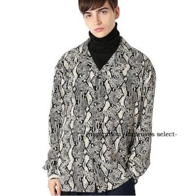 開襟シャツ パイソン柄 ヘビ柄 オープンカラー 長袖 柄シャツ メンズファッション メンズ 韓国ファッション