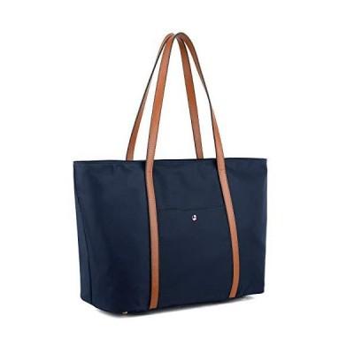 YALUXE Women's Oxford Nylon Large Capacity Work Laptop fit 15.6 inch Tote Shoulder Bag Brown Front Pocket【並行輸入品】