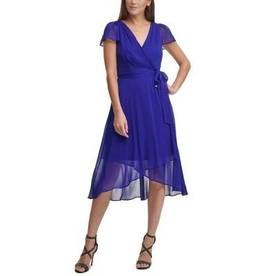 ダナ キャラン ニューヨーク ワンピース トップス レディース Ruffled Flutter-Sleeve Faux-Wrap Dress Berry Blue