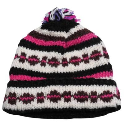 帽子 ネパール・手編みボンボン帽子37 クリックポスト選択 送料200円