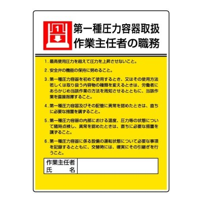 作業主任者職務板(第一種圧力容器取扱・作業主任者の職務)808-07