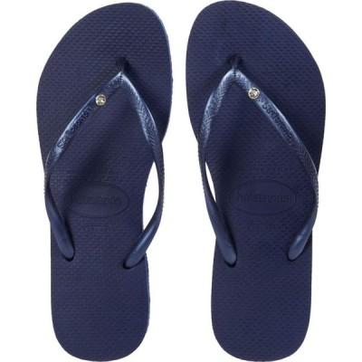 ハワイアナス Havaianas レディース ビーチサンダル シューズ・靴 Slim Crystal SW II Flip-Flop Navy/Blue