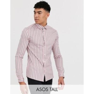 エイソス メンズ シャツ トップス ASOS DESIGN Tall skinny fit stretch shirt in pink stripe Pink