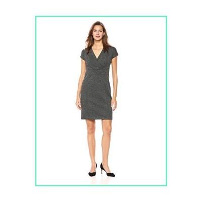 Lark & Ro Women's Cap Sleeve Faux Wrap Sheath Dress, Salt/Pepper, 6並行輸入品