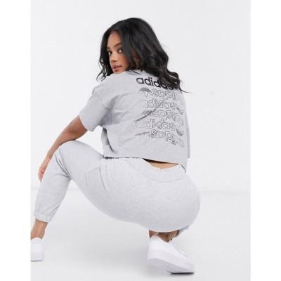 アディダス adidas Originals レディース ベアトップ・チューブトップ・クロップド トップス cropped trefoil t-shirt in grey with back logo グレー